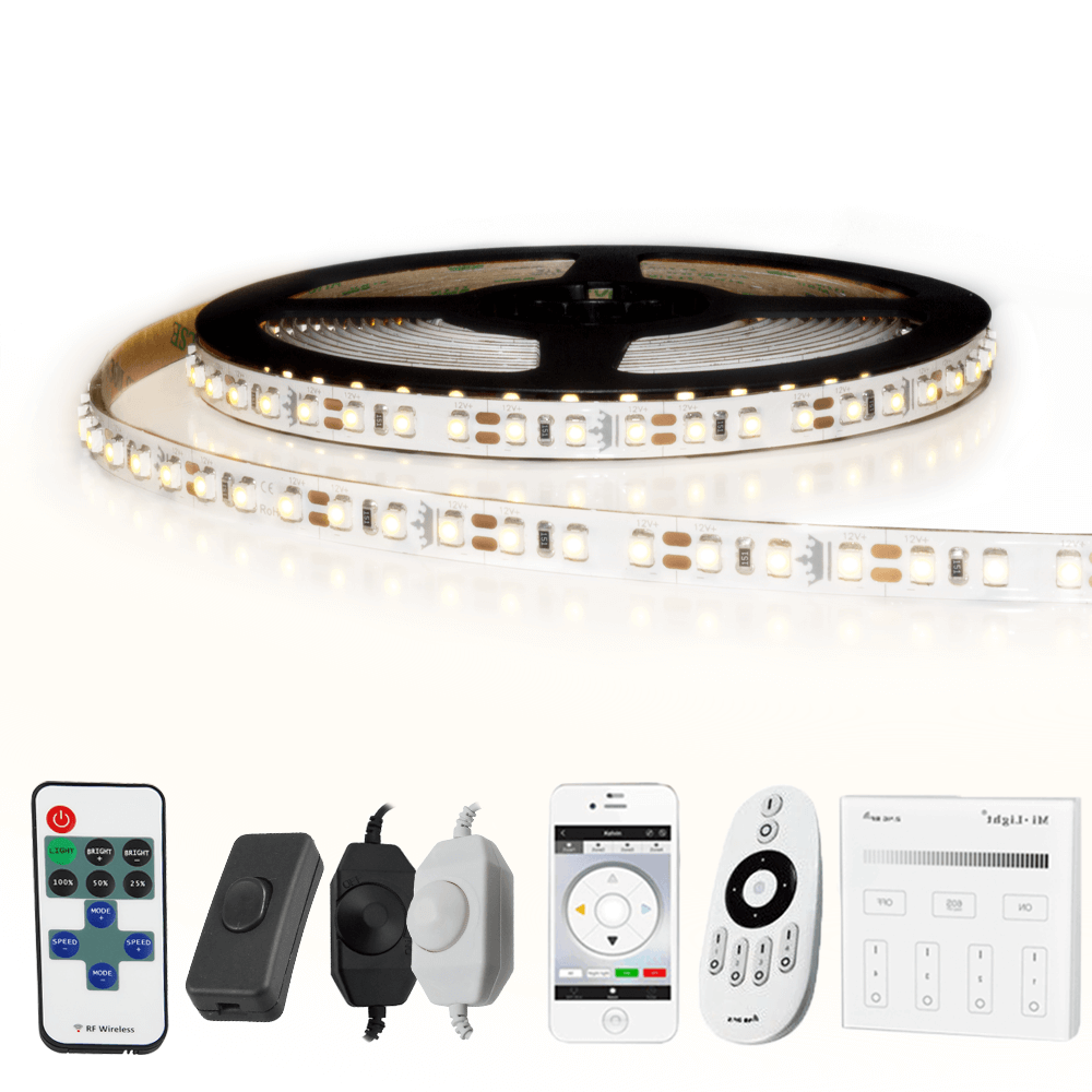 10 METER - 1200 LEDS complete led strip set Helder Wit