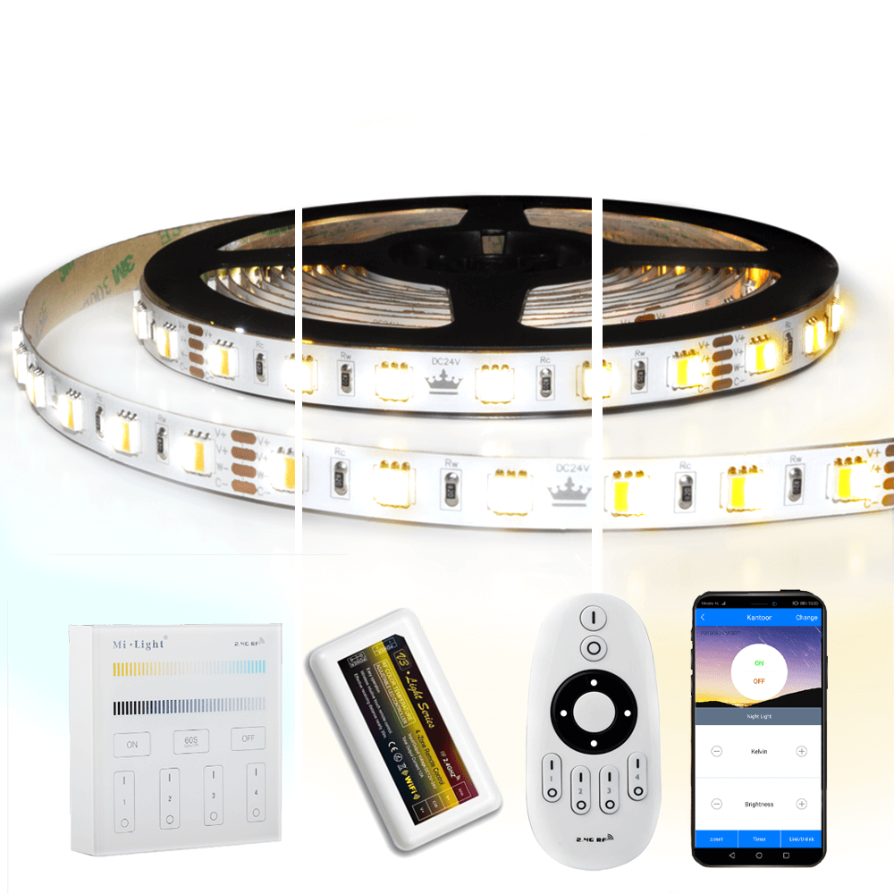 20 meter Dual White led strip complete set - Premium 2400 leds