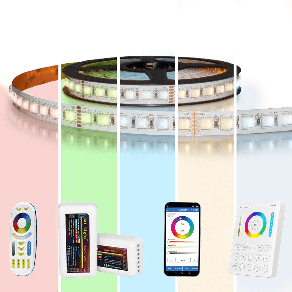 25 meter RGBWW led strip Pro met 2400 leds - complete set
