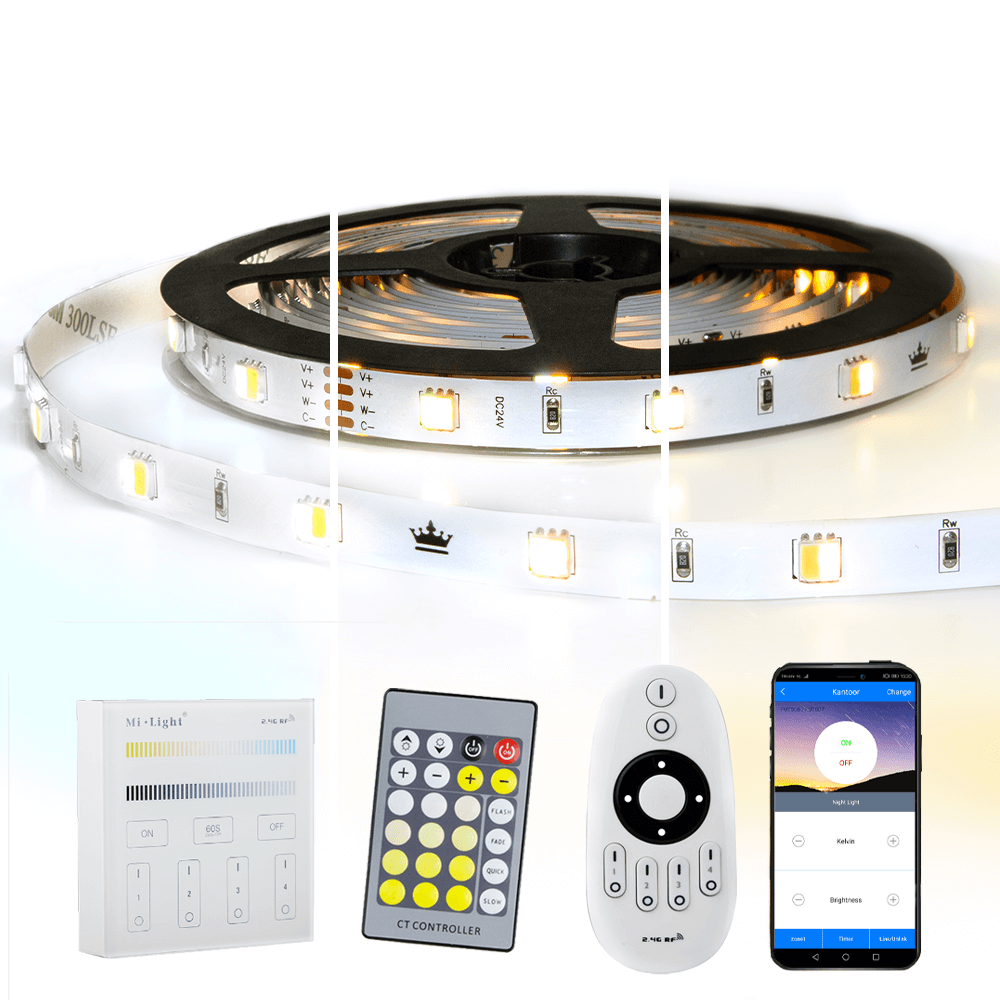 5 meter Dual White led strip complete set - Basic 300 leds