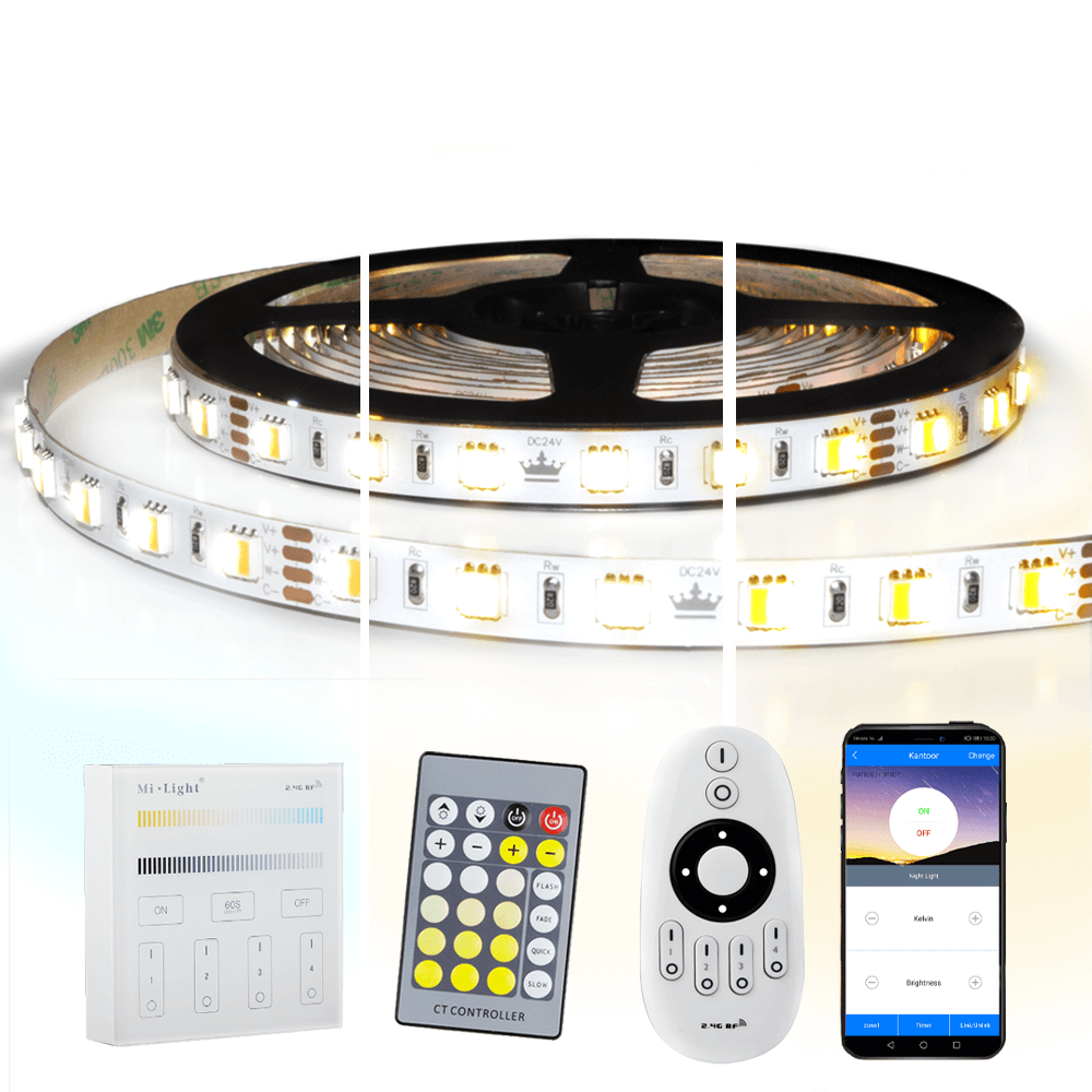 5 meter Dual White led strip complete set - Premium 600 leds