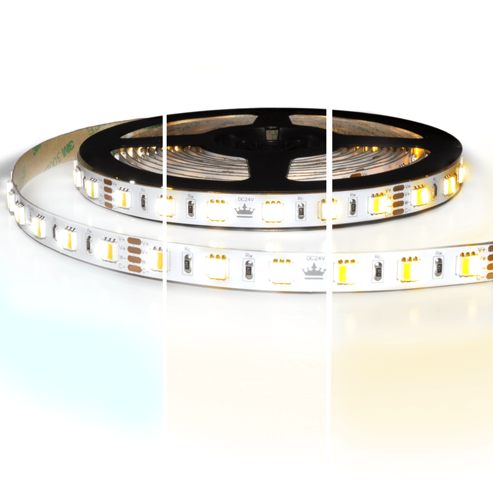 5 meter Dual White led strip Premium met 600 leds - losse strip