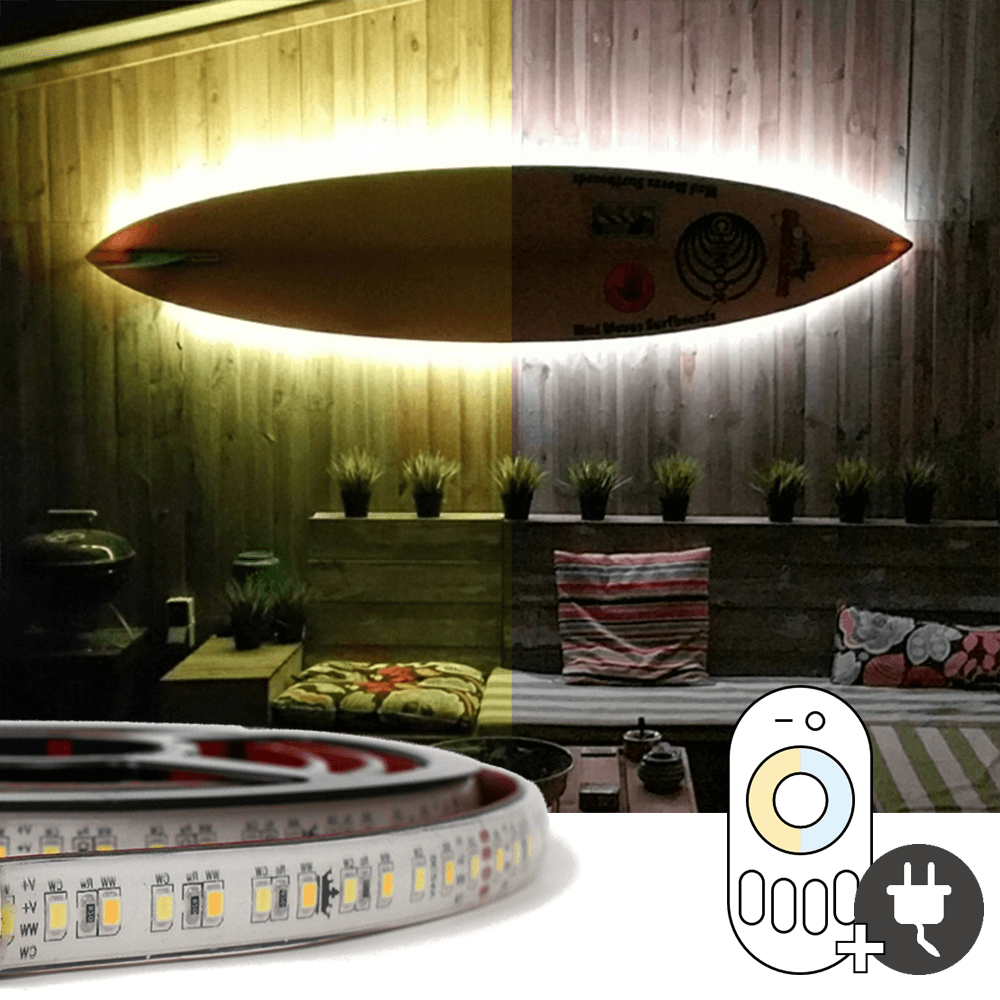 5 meter Dual White led strip voor buiten complete set