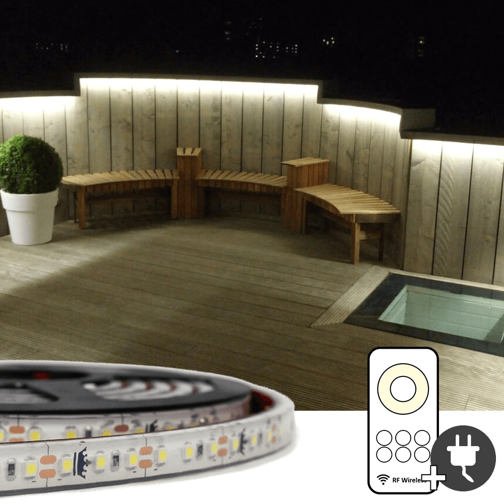 5 meter Helder Wit led strip voor buiten complete set