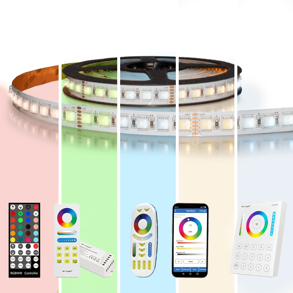 5 meter RGBWW led strip Pro met 480 leds - complete set