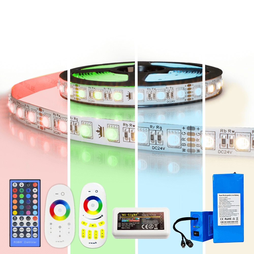 Led strip op batterij RGBW Premium complete set 5 meter