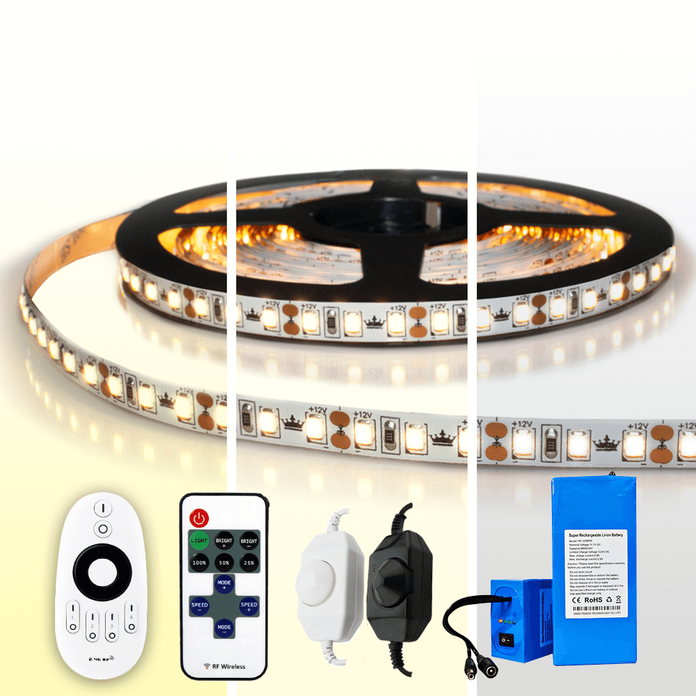 Led strip op batterij Warm wit, Helder wit of Koud wit complete set 4 meter Prem