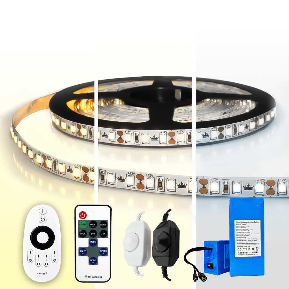 Led strip op batterij Warm wit, Helder wit of Koud wit complete set 5 meter Prem